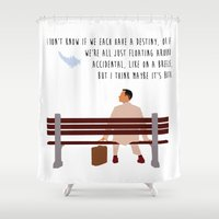 forrest gump Shower Curtains featuring Forrest Gump by Christina