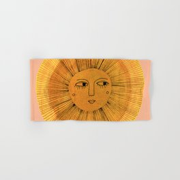 Sun Drawing Gold and Pink Hand & Bath Towel