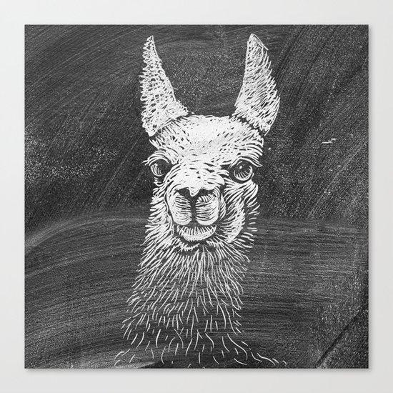 Black White Vintage Funny Llama Animal Art Drawing Canvas Print