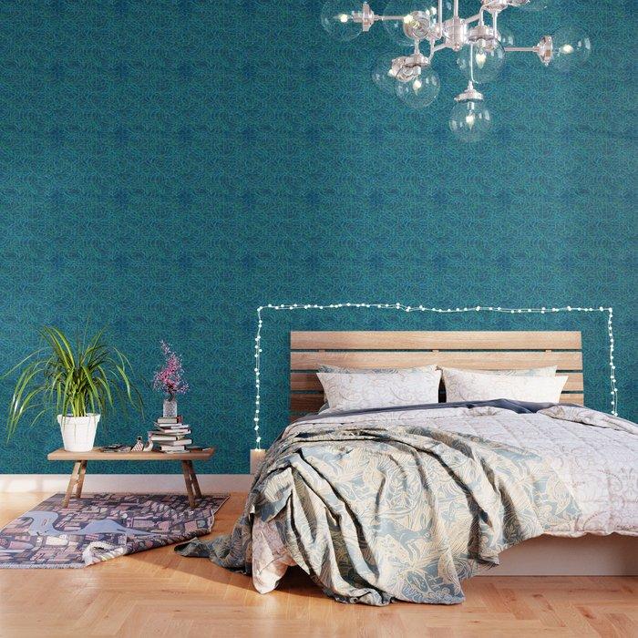 Green scribbled lines pattern Wallpaper