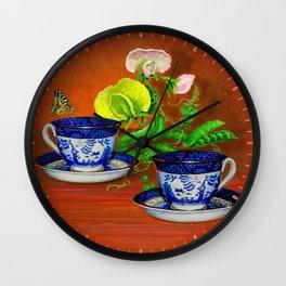 Teacups with Snap Peas Wall Clock