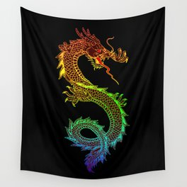 Traditional Chinese dragon in rainbow colors Wall Tapestry