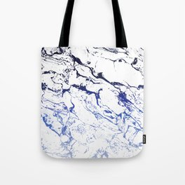 Modern white marble blue ombre navy blue watercolor gradient fade Tote Bag
