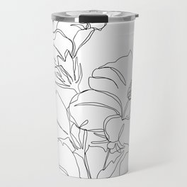 Floral one line drawing - Hibiscus Travel Mug