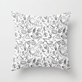 Deep sea Creatures- Black/white Throw Pillow