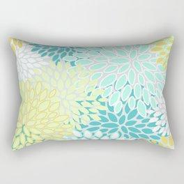 Floral Abstract Summer Pattern, Teal, Mint Green, Yellow Rectangular Pillow