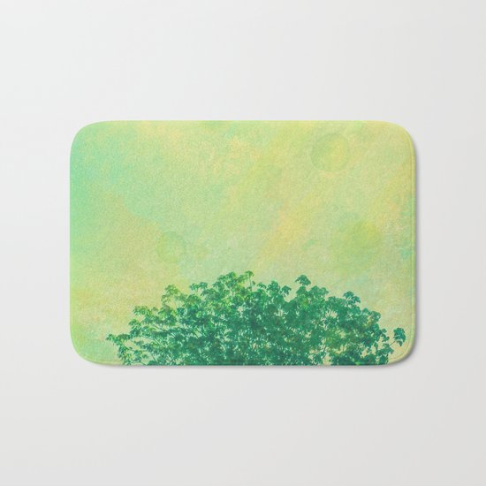 Green Lone Tree, Summer Sunlight Bath Mat