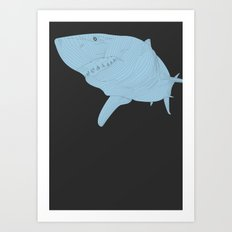 All lines lead to the...Inverted Great White Shark Art Print