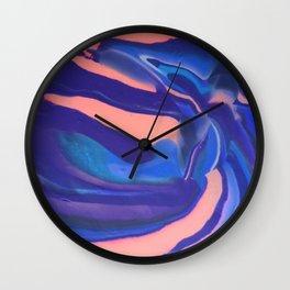 Peachy Blue Marbling Pantone Wall Clock