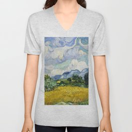 Wheat Field with Cypresses (1889) by Vincent Van Gogh. Original from the MET Museum. Unisex V-Neck