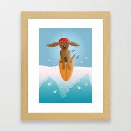 Surf Dog on Top of the Wave Framed Art Print