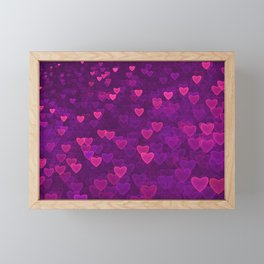 Abstract Pink Ultra Violet Love Heart Pattern | St Valentines day Framed Mini Art Print