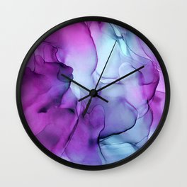 Abstract Mermaid Magenta Indigo Blue Ink Painting Wall Clock