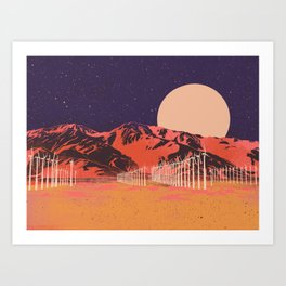 Full Moon Over the Palm Springs Windmills — Purple and Yellow Art Print