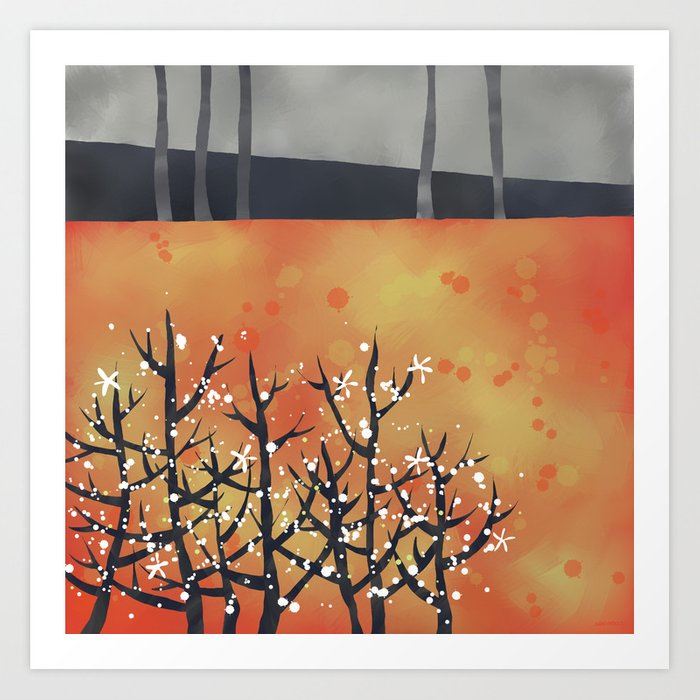 Blackthorn Landscape Art Print