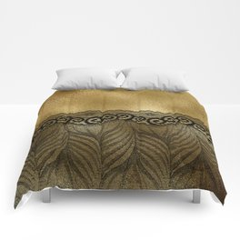 Black floral luxury lace on gold effect metal background Comforters