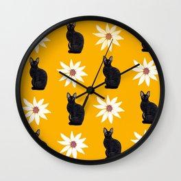 Cornish Rex Cat - Daisy Gold Wall Clock