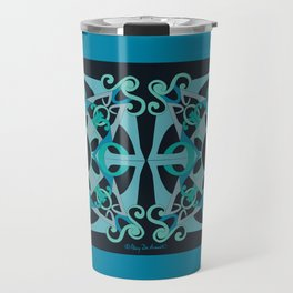 Support Love Mandala x 2 - Teal/Black Travel Mug