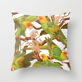 The extinction of the Carolina Parakeet. Throw Pillow