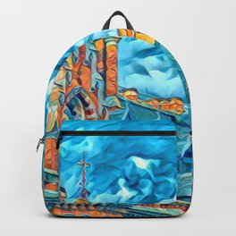 City Art Painting,Original City Art Oil Painting Backpack