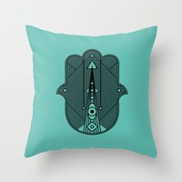 hamsa Throw Pillows featuring hamsa  by Leandro Pita