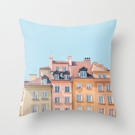 Warsaw Pastels - Poland Architecture, Travel Photography Throw Pillow