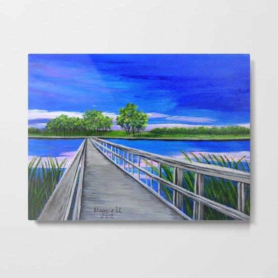Walking bridge on the lake  Metal Print