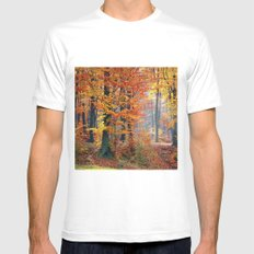 Colorful Autumn Fall Forest Mens Fitted Tee MEDIUM White