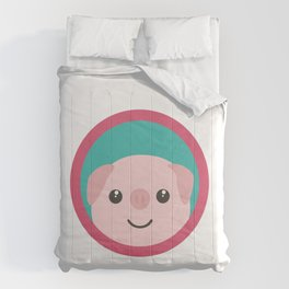 Cute pink pig with purple circle Comforters