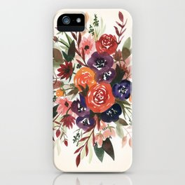 Country Fall Watercolor Bouquet iPhone Case
