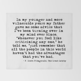 In my younger and more vulnerable years - F Scott Fitzgerald Throw Blanket