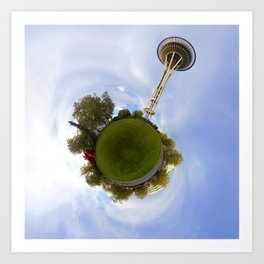 Space Needle Tiny Planet Art Print