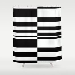 Abstract striped pattern. black and white . Shower Curtain