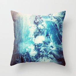Blue Crashing Wave // Lunar Ocean Storm // Surreal Space Throw Pillow
