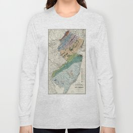 Vintage Geological Map of New Jersey (1839) Long Sleeve T-shirt