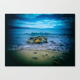Enjoying summer time in blue, yellow and green. Canvas Print