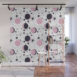 Modern Moon and Star Pattern Wall Mural