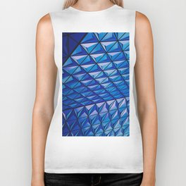 Blue Geometric Pattern Biker Tank