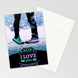 Couple Love massage texture Stationery Cards