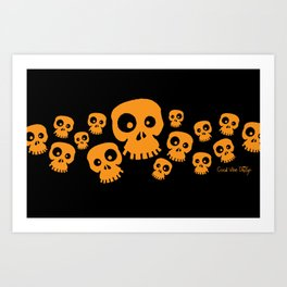Skulls Fun - orange/black Art Print