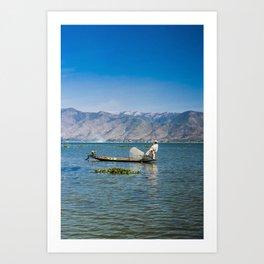 The Leg Rowing Fisherman Myanmar   Inle lake blue sunrise Fine art   Color - blue - travel - photography - Art print Art Print