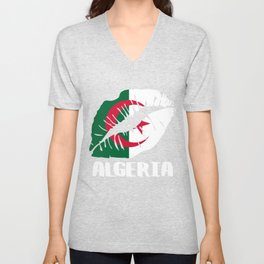 DZA Algeria Kiss Lips T Shirt Unisex V-Neck