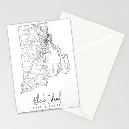 Rhode Island Minimal Street Map Stationery Cards