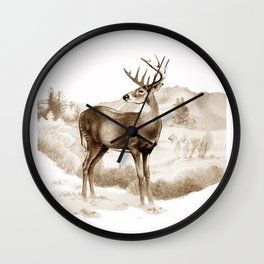 White-tailed Stag Sniffing the Air Wall Clock