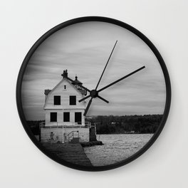 Black and White Breakwater Lighthouse Wall Clock