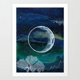 Crescent Moon Mixed Media Painting Art Print