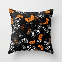 Video Game Orange on Black Throw Pillow
