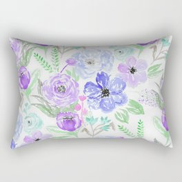 Hand painted lavender lilac blue watercolor flowers Rectangular Pillow