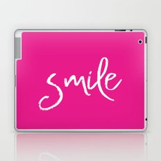 Smile- Funny Typography on simple pink background texture on #society6 Laptop & iPad Skin