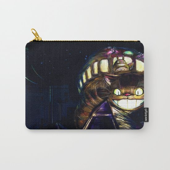 Cat Bus is In Your Town! Miyazaki Tribute Digital Fan Painting Carry-All Pouch